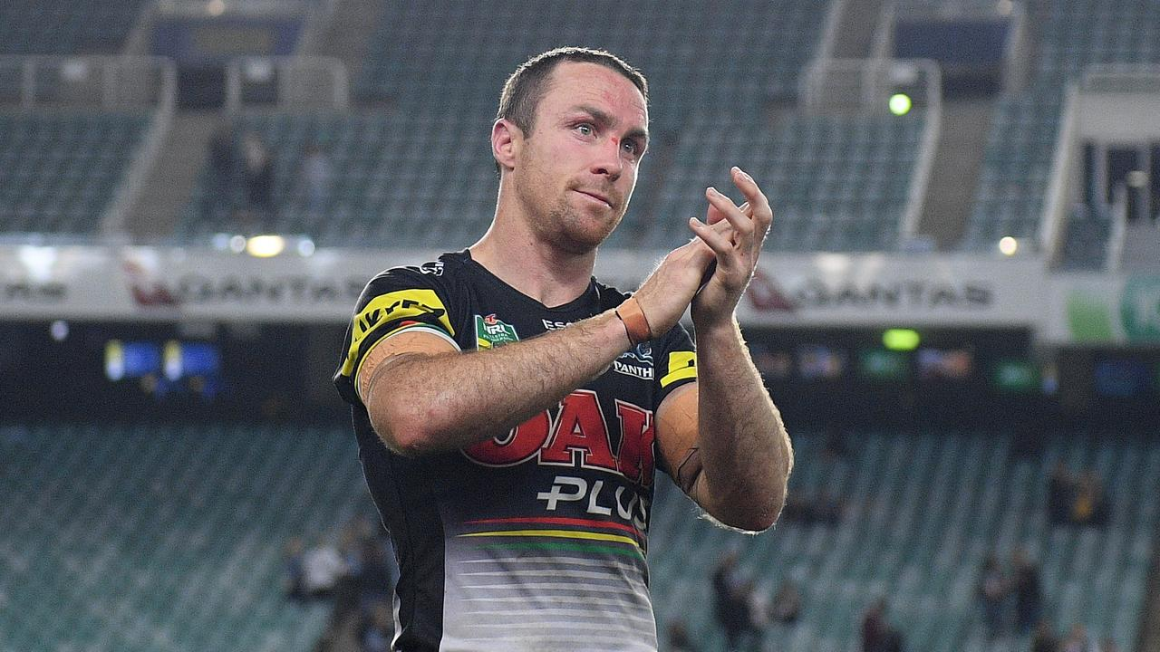 James Maloney gestures to fans that turned up to watch his team's loss to the Sharks.
