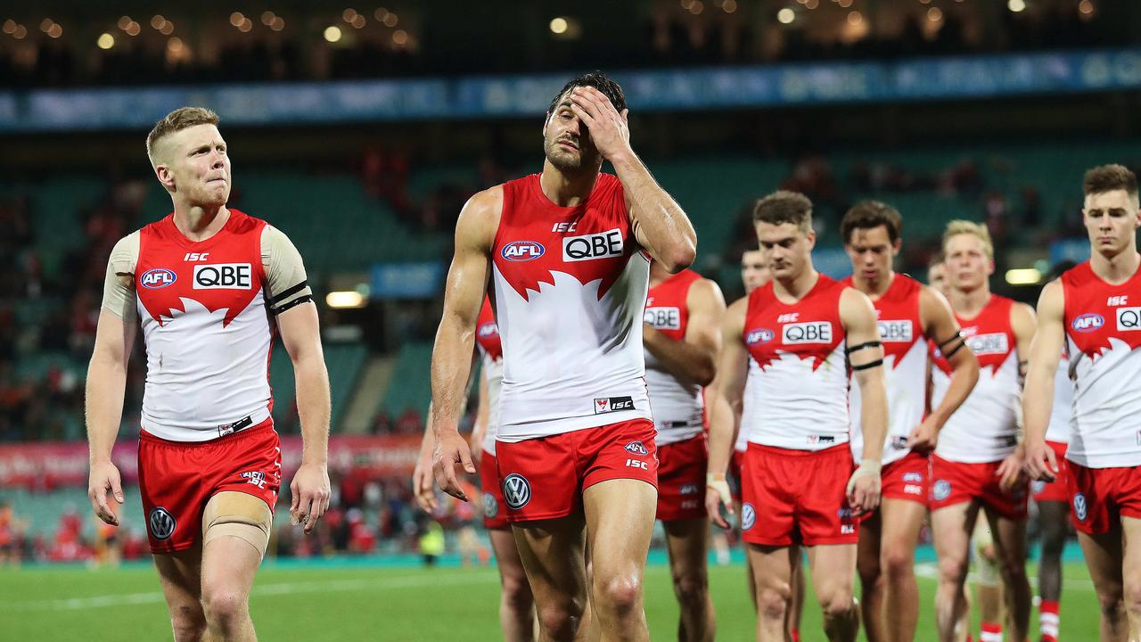 Dejected Dan Hannebery, Josh Kennedy and after the loss on Saturday.
