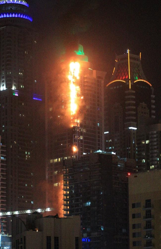 A massive blaze tears through a Dubai skyscraper. Picture: Getty