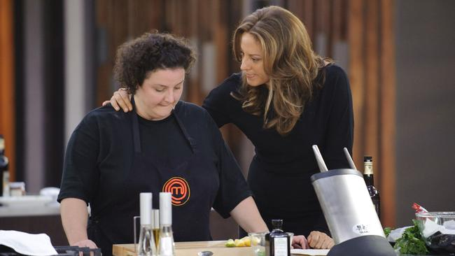 Sarah Wilson (right) consoles eventual 2009  <i>MasterChef </i>winner Julie Goodwin (left).