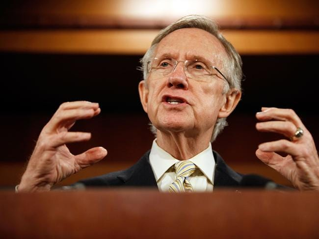 Then Senate Majority Leader Senator Harry Reid (D-NV) holds a news conference in 2009.