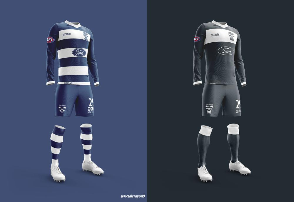 Geelong's home and away/clash jerseys.