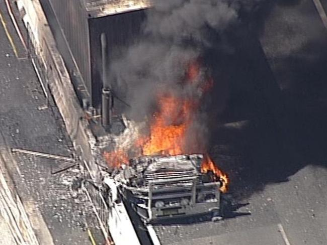 A truck has burst into flames in Sydney's Kingsgrove causing major delays with all westbound lanes closed on the M5. Picture: Seven News