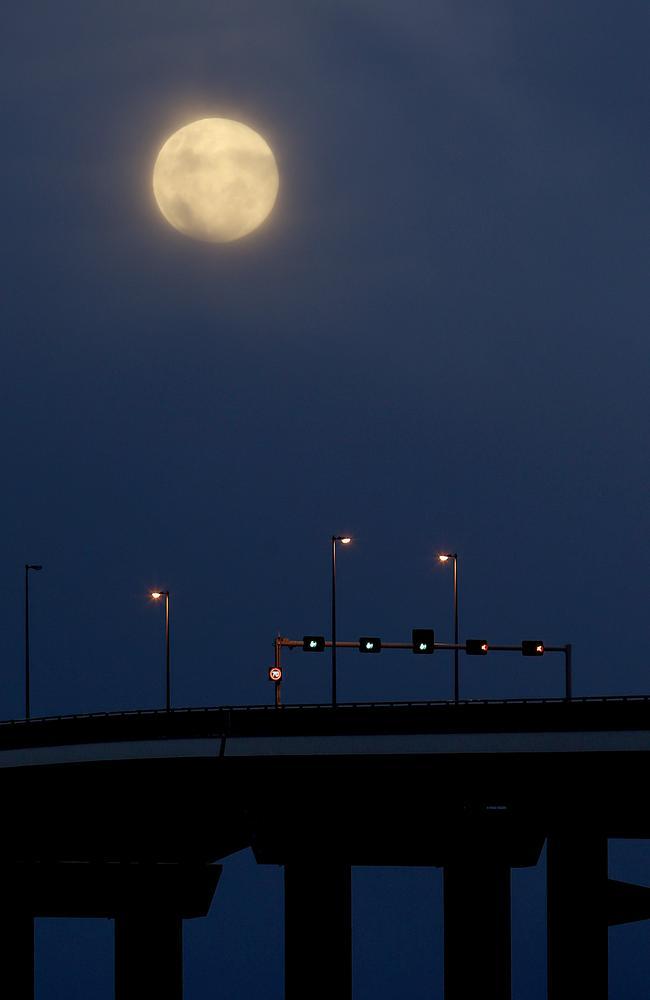 Super moon over the Tasman Bridge in Hobart.