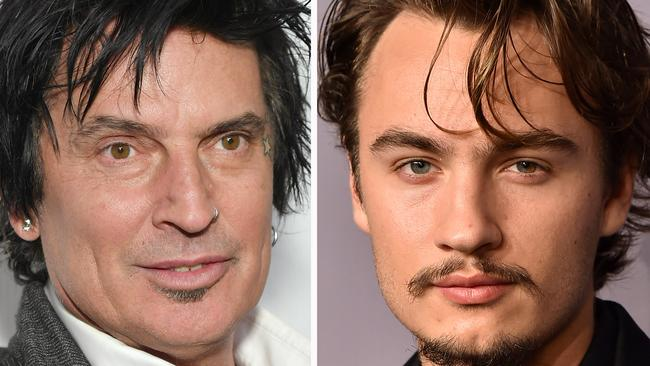 Tommy Lee at left, and son Brandon. Picture: Getty