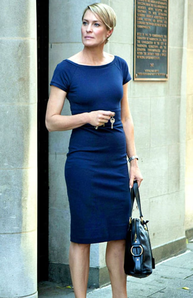 Playing politics...Robin Wright plays Claire Underwood in acclaimed drama series, House of Cards Picture: Supplied.