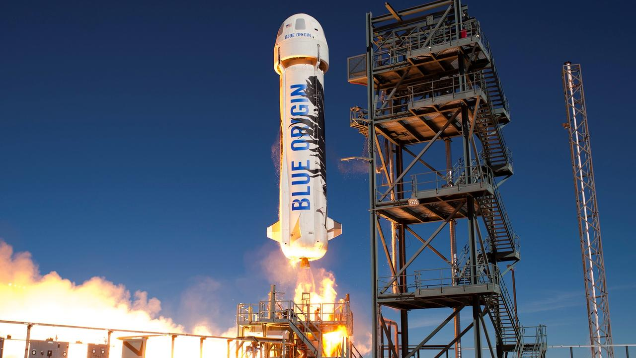 Blue Origin's New Shepard taking off. Picture: AFP/Blue Origin