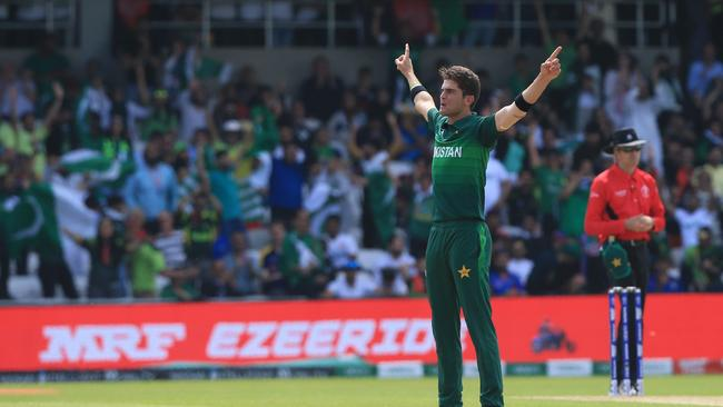 Pakistan's Shaheen Shah Afridi took four wickets. Picture: AP