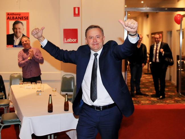 Labor MP Anthony Albanese arrives at his post election party at the Cyprus Club, Stanmore, after retaining his seat of Grayndler. Picture: Jenny Evans