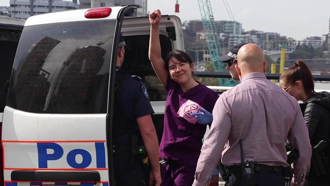 She was taken into police custody after an hour.