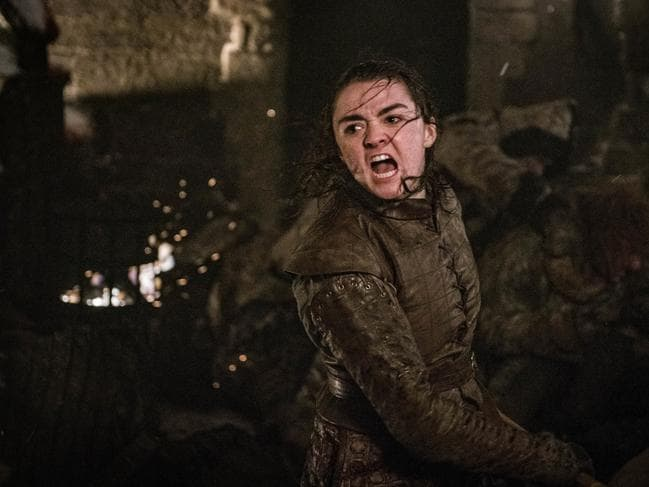 If true, Jon helped pave the way for Arya to kill the Night King. Picture: Helen Sloan/HBO via AP