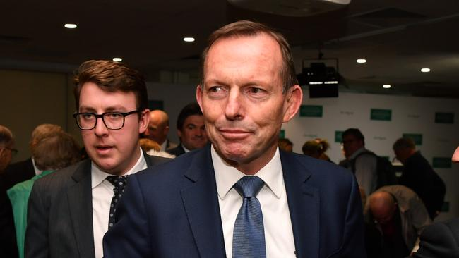Former Prime Minister Tony Abbott leaves after a speech on the state of the Australian political landscape on Saturday. He has also taken up a new role as special envoy on indigenous affairs.