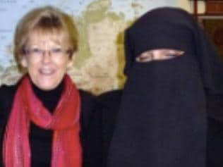 Santa Sabina former head of religion Helen Smith with two speakers pictured in Bradford Uk in 2012