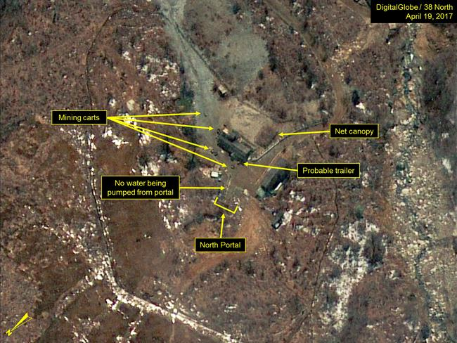 Probable trailers observed near the North Portal of North Korea's Punggye-ri nuclear test site. Picture: DigitalGlobe/38 North via Getty Images