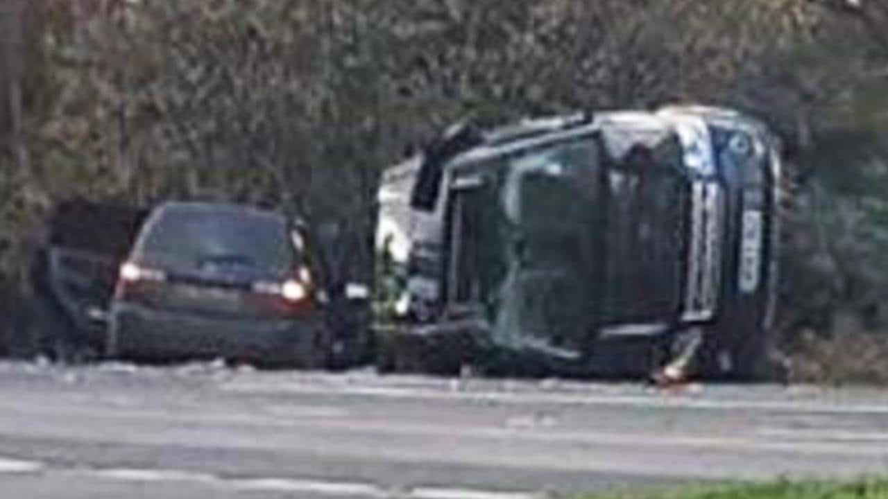 Prince Philip car crash - The Prince's Land Rover was left on its side following the crash. Picture: Tia Greenstreet/KLFM