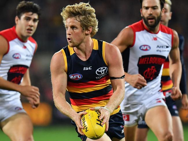 Clear space against Melbourne was hard to find for Rory Sloane.