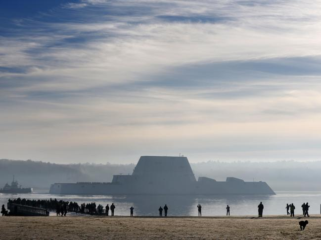 The first Zumwalt-class destroyer, the largest ever built for the US Navy, heads down the Kennebec River after leaving Bath Iron Works. Picture: AP