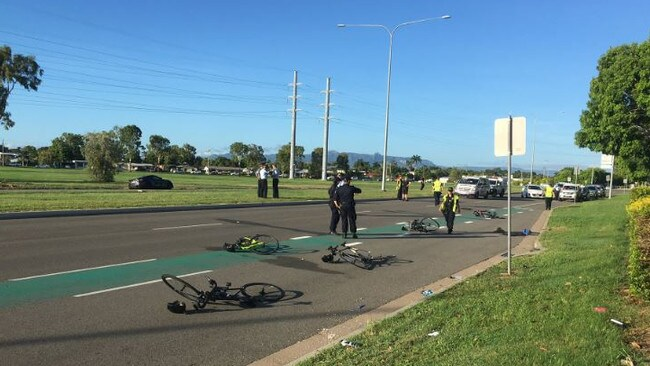 Five cyclists were taken to hospital following the crash. Picture: @lilgreer9