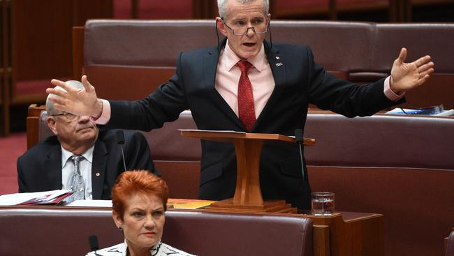 One Nation Senator Malcolm Roberts makes his maiden speech. Picture: Mick Tsikas/AAP