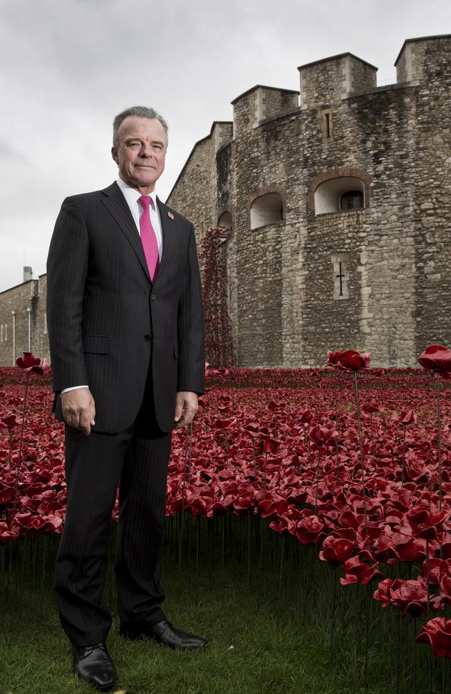 Right move ... Director of the Australian War Memorial Brendan Nelson at the evolving installation Blood Swept Lands and Seas of Red, marking the centenary of the outbreak of WWI at the Tower of London. Picture: Ella Pellegrini