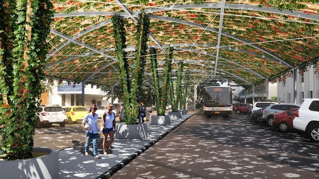 The vine shade structure will be equivalent to 24 trees but will shelter the street in months rather than taking years to grow.