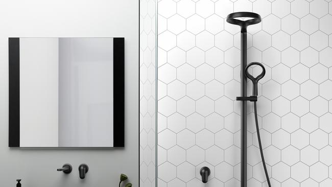 The Aio shower system in matt black makes a designer statement.