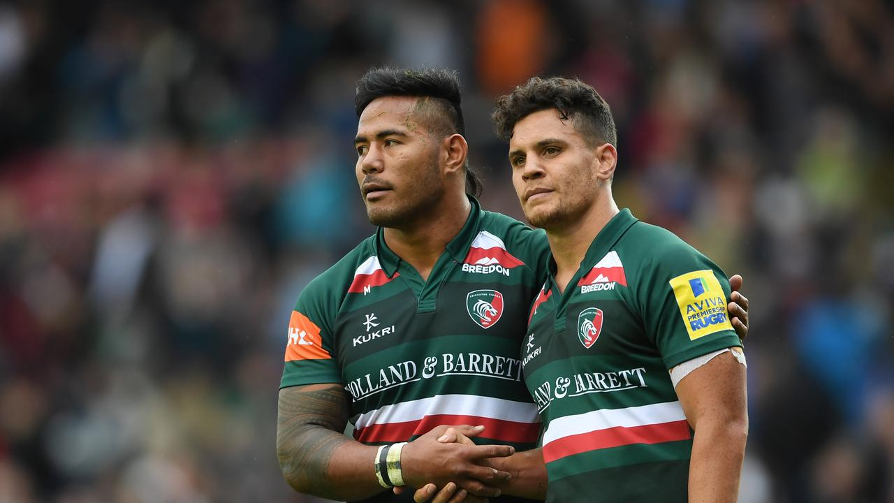 Matt Toomua's time alongside England pair Manu Tuilagi (L) and George Ford is over after leaving Leicester.