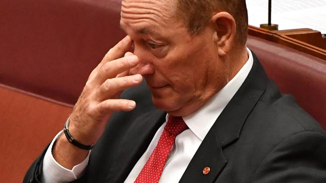 Fraser Anning in the Senate today. Picture: AAP Image/Mick Tsikas