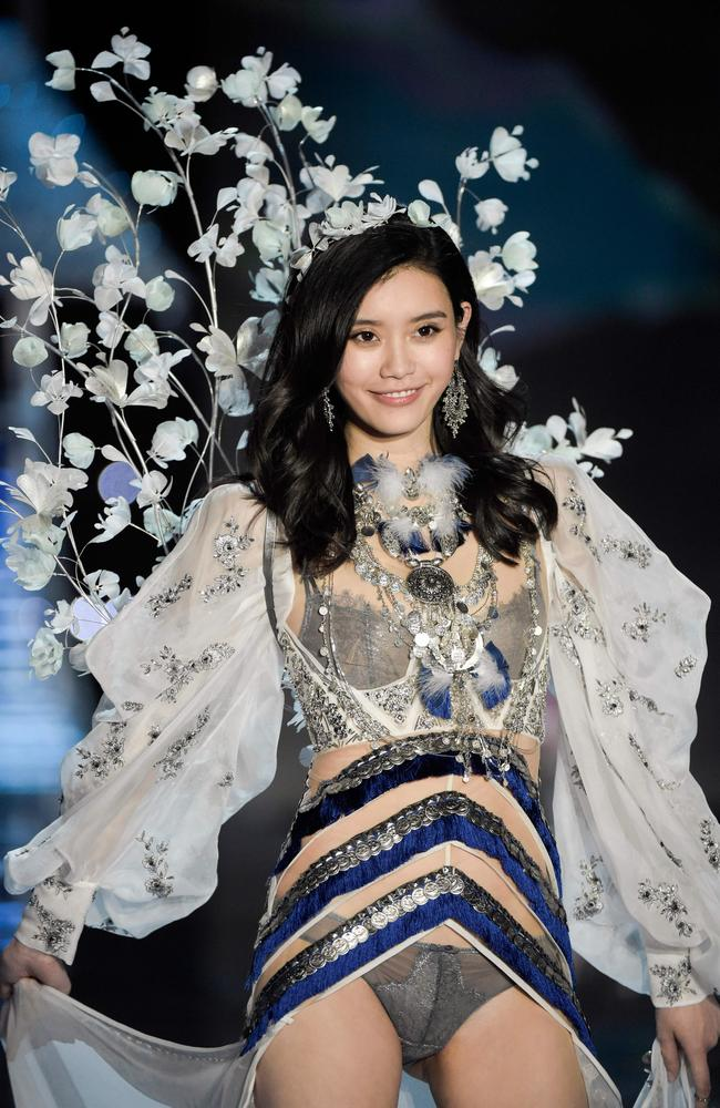 Chinese model Ming XI walking the runway. Picture: Fred Dufour/AFP