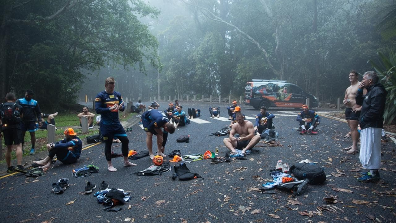 The Titans have completed an overnight hike spanning over 51km through the Gold Coast hinterland. Picture: Supplied.