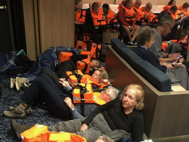 Hundreds of passengers on board the Viking Sky, waiting to be evacuated, off the coast of Norway on Saturday, March 23, 2019. Picture: Alexus Sheppard via AP