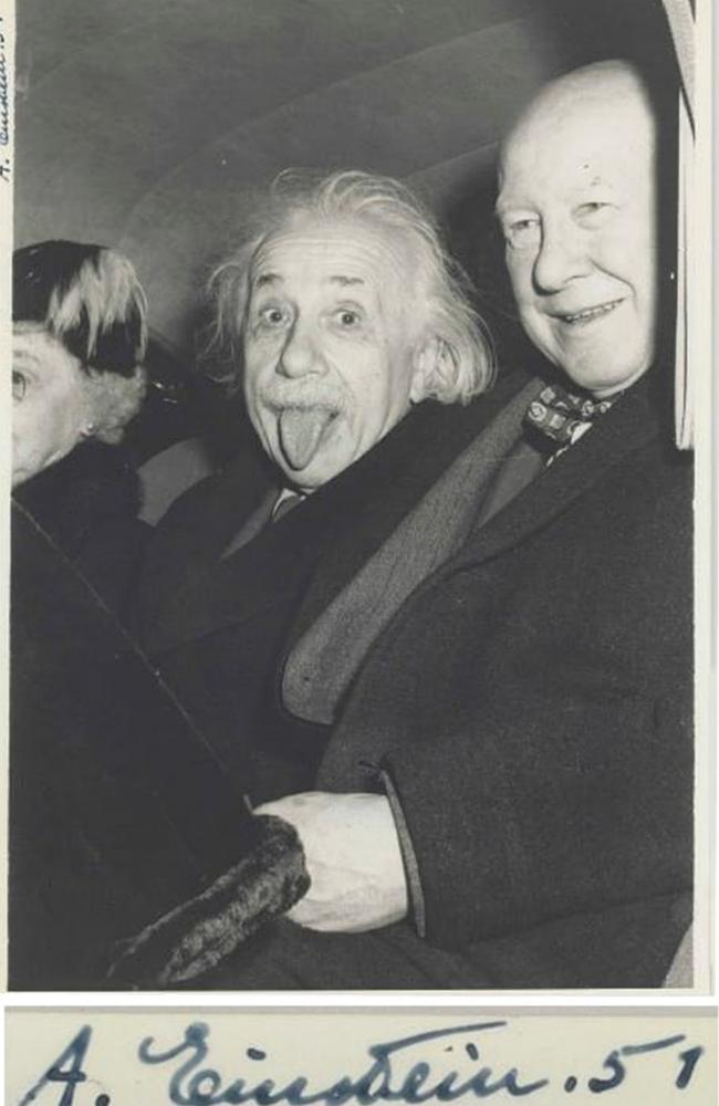 Albert Einstein photo sells at auction. Picture: Arthur Sasse/Nate D Sanders Auctions