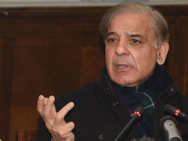 Pakistani Chief Minister of Punjab province Shahbaz Sharif announces the arrest of suspected serial killer Imran Ali, 24, over the rape and murder of Zainab Ansari, seven. Picture: Arif Ali/AFP