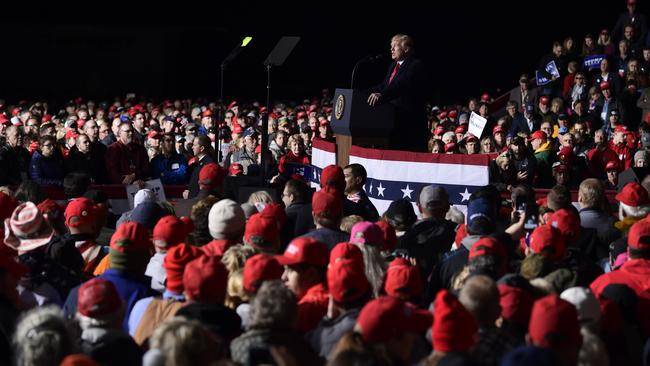 President Donald Trump speaks at a rally in Wisconsin. Picture: AP