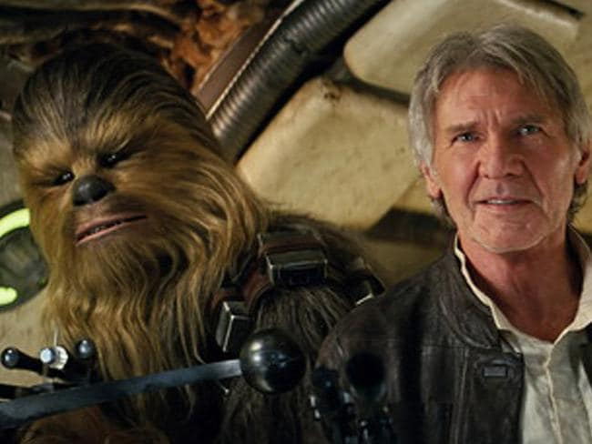 Comeback ... Peter Mayhew as Chewbacca and Harrison Ford as Han Solo in Star Wars: The Force Awakens. Picture: Film Frame/Lucasfilm via AP