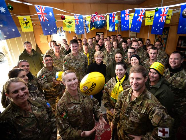 Foreign Minister Julie Bishop visits Australian troops in Afghanistan on Australia Day / Picture: Justin McManus