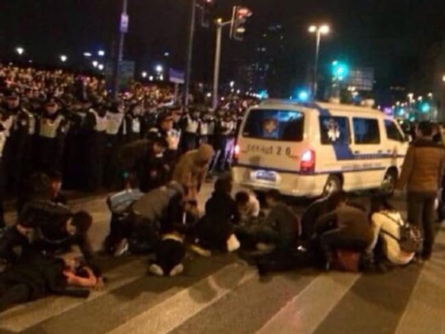 Lost lives ... the scenes from the stampede. Picture: Weibo