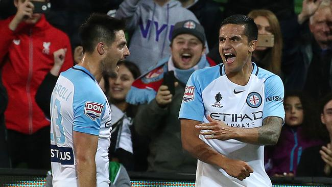 Melbourne City has spent $5.9 million on marquees and guest players, which include Bruno Fornaroli and Tim Cahill. Picture: George Salpigtidis