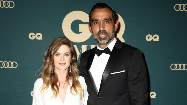 Natalie Croker and Adam Goodes. Picture: Getty Images
