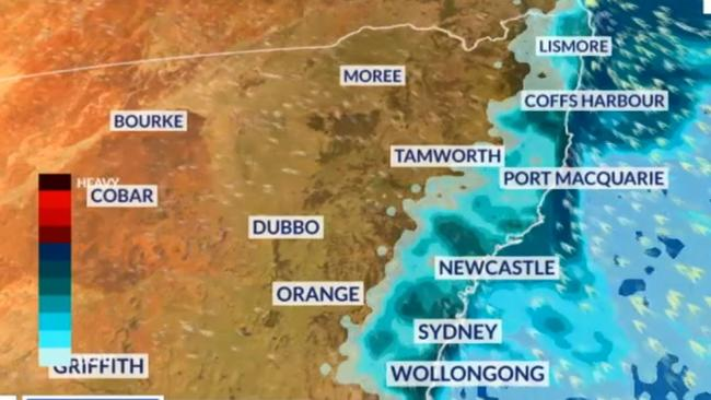 Wet conditions will continue across New South Wales over the next 24 hours but the rain is moving north. Picture: Sky News Weather.