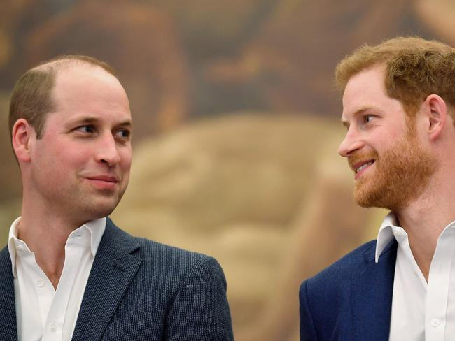 Prince William (left) does not appear to have been to the hair loss clinic Harry is said to have visited. Picture: AFP