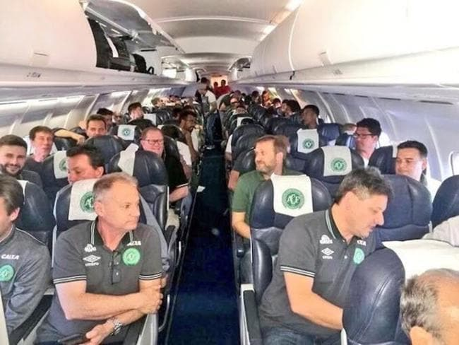 The last known picture of the 22 players and officials of the Brazilian professional football side Chapecoense. Picture: Twitter.