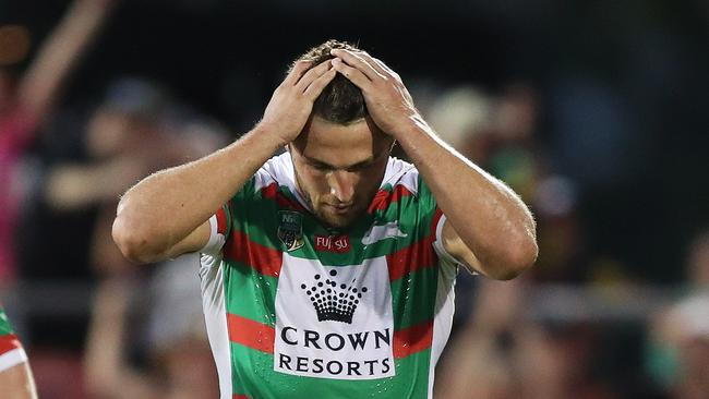 Souths Sam Burgess has been charged with making a cannonball tackle in the game against Penrith. Picture: Brett Costello