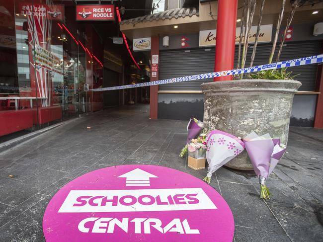 The crime scene is at Schoolies Central. Picture: Nigel Hallett