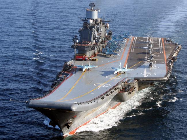 Kuznetsov at sea with its full outfit of fighter jets and helicopters. Picture: Russian Ministry of Defence