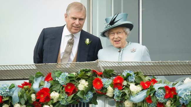 Prince Andrew and the Queen ... in happier times. Picture: AFP