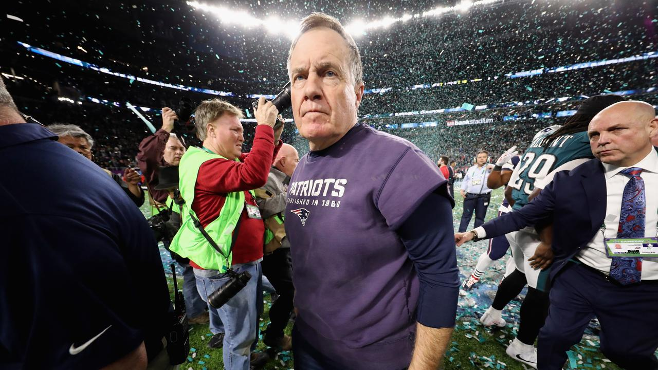 New England Patriots coach Bill Belichick reacts after losing the Super Bowl this year.