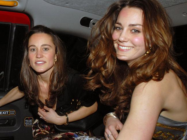 Pippa and Kate Middleton leaving exclusive venue Mahiki in London in the early hours. Picture: Phil Ramey via Getty Images