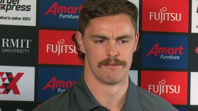 Joe Daniher fronts the media after his failed attempt to jettison the Bombers
