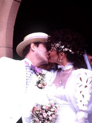 Elton John kisses his new bride Renate. Picture: Supplied/Brisbane Sun